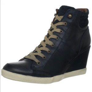 Miz Mooz Angie black leather wedge high tops. SZ 9